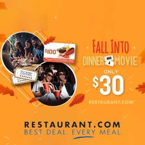 2 Movie Tickets + $100 Restaurant.com Card for $30