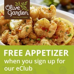 FREE Meals When You Join Olive Garden's eClub