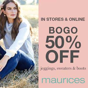 Buy 1, Get 1 50% Off Jeggings, Sweaters and Boots