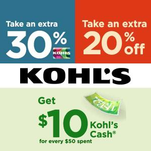 Extra 30% Charge Card + Extra 20% Off w/ Code + $10 Kohl's Cash