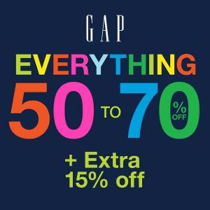 50-70% Off Everything +15% Off