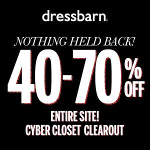 40% to 70% Off Entire Site in Cyber Closet Clearout Sale