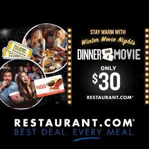 2 Movie Tickets + $100 Restaurant.com Card for $30