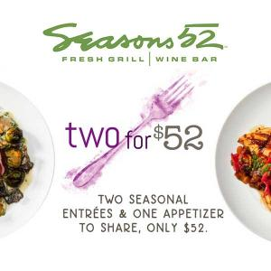 $52 for Two Entrees and Appetizer