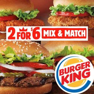 2 for $6 Mix & Match Deal Including Impossible Whopper