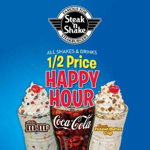 Happy Hour: 50% Off Shakes & Soft Drinks