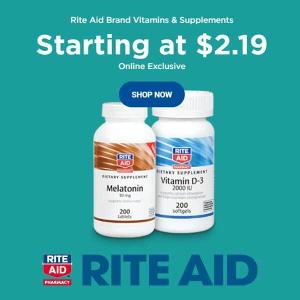 Rite Aid Brand Vitamins & Supplements Starting at $2.19