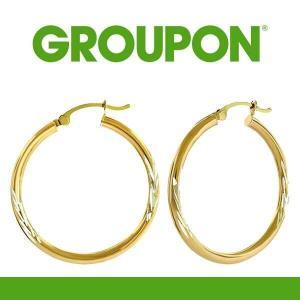 54% Off 14K Gold Diamond-Cut Hoop Earrings