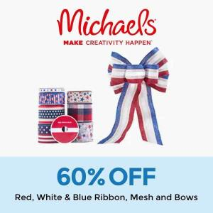 60% Off Red, White & Blue Ribbon, Mesh and Bows