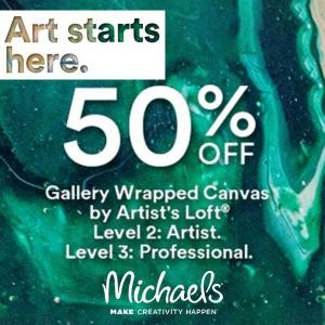 50% Off Gallery Wrapped Canvases by Artist Loft