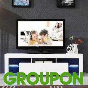 78% Off High Gloss White 51'' TV Stand with LED Light & Storage