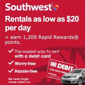 Rentals as Low as $20 per Day + 1,200 Rapid Rewards Points w/ Dollar