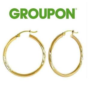 60% Off 14K Gold Diamond-Cut Hoop Earrings