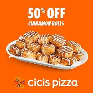 50% Off Cinnamon Rolls w/ Purchase of $20