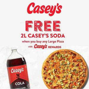 Free 2L Casey's Soda with Purchase of Any Large Pizza with Casey's Rewards