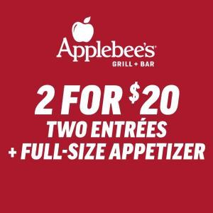 2 for $20: Two Entrees + One Appetizer