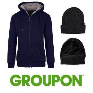 Up to 69% Off Men's Sherpa Hoodie, Hat, & Thermal Socks Set