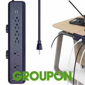 58% Off 6-Outlet and 2 USB Charging Port Workshop Power Strip with Clamp Mount
