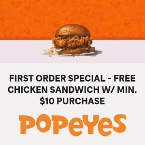 Free Chicken Sandwich with $10 Minimum Purchase