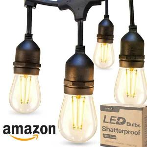 40% Off 2-Pack 48ft LED Outdoor String Lights with Edison Shatterproof Bulbs