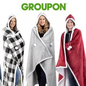 22% Off Luxury Hoodie Sherpa-Lined Throw Blanket