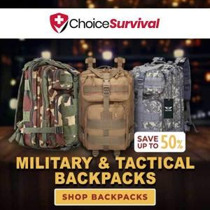 50% Off Military & Tactical Backpacks