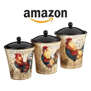 48% Off 3 Pc Certified International Gilded Rooster Canister Set
