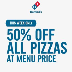 50% Off All Pizzas at Menu Price