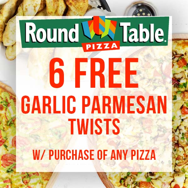 Round Table Garlic Twist Recipe.6 Free Parmesan Twists W Pizza Purchase Senior Discounts Club