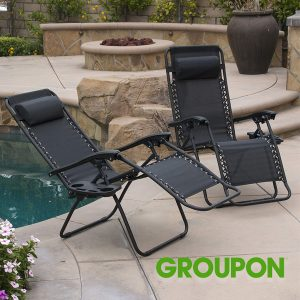 67% Off Zero Gravity Chairs and Folding Table with Cup Holder Set (3-Piece)