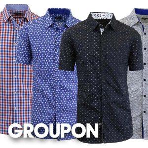 80% Off Men's Slim-Fit Short Sleeve Dress Shirt