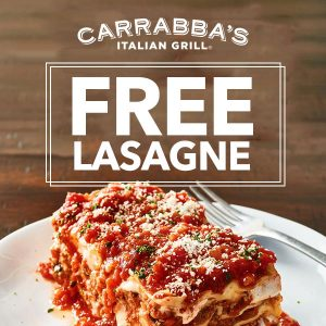 Free Lasagne to Take Home w/ Entree Purchase