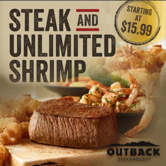 Steak and UNLIMITED Shrimp Starting at Only $15.99
