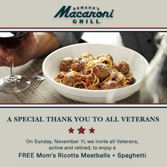 FREE Mom's Ricotta Meatballs & Spaghetti for All Veterans