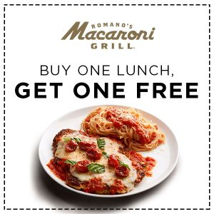 2/20 ONLY! Buy One Get One FREE Lunch Entrée