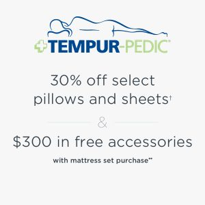 30% Off Select Pillows & Sheets + $300 in FREE Accessories w/ Signup & Purchase