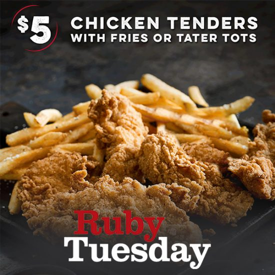 TODAY (Mar. 12) ONLY: $5 Crispy Buttermilk Chicken Tenders w/ Fries or Tater Tots