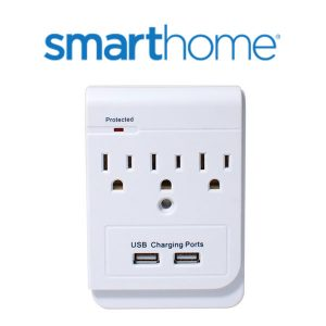 50% Off Smarthome SELECT 3-Outlet Power Adapter & Dual-Port USB Charger