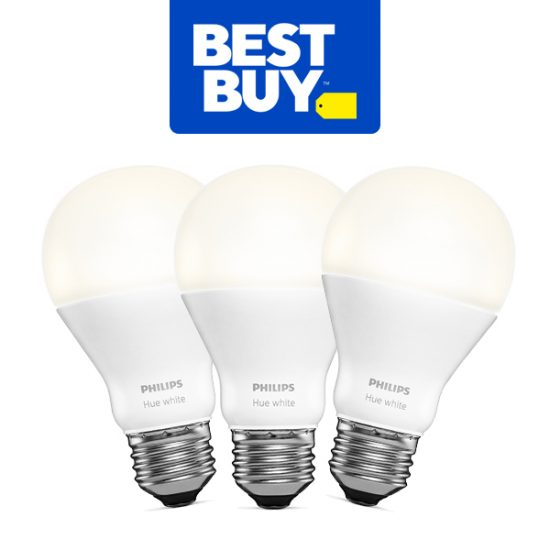 Only $29.99 3 Philips Hue A19 Smart LED White Bulbs