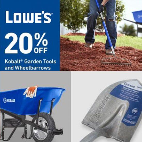 20% Off Kobalt Garden Tools and Wheelbarrows