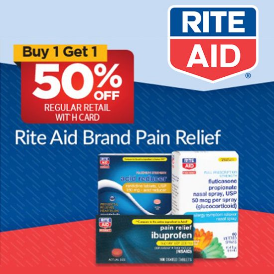Buy 1, Get 1 50% Off Store-Branded Pain Relief Medication w/ Card