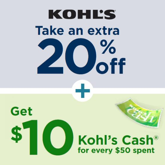 Extra 20% Off w/ Code + Get $10 Kohl's Cash for Every $50 Spent During Sale