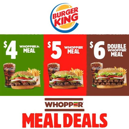 $4, $5 and $6 Whopper Meal Deals