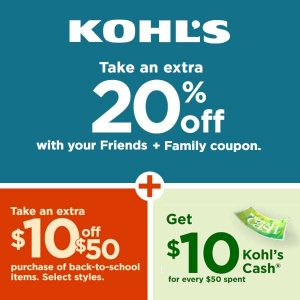 Extra 20% Off + $10 Off $50 + $10 Rebate per $50 Spent