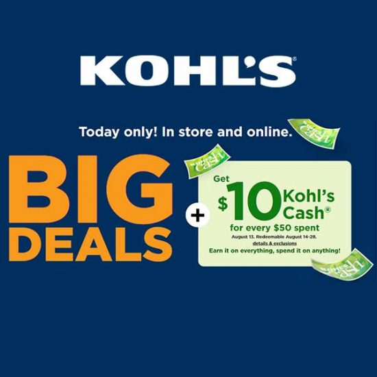 Today Only: Big Deals Select Styles + Kohl's Cash
