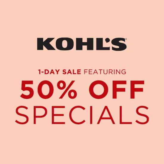1 Day Sale Featuring 50% Off Specials