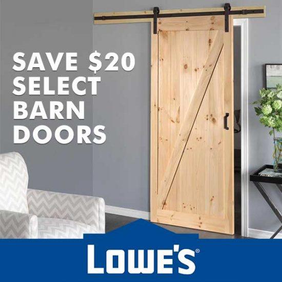 Save $20 on Select Barn Doors
