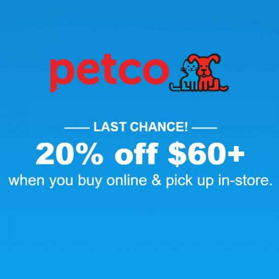 Ends Today: 20% Off $60+ Online Purchase