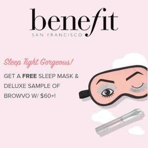 Free Sleep Mask & Deluxe Sample of Browvo w/ $60+ Purchase
