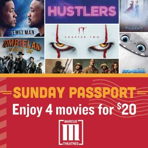 Watch 4 Movies for Only $20 on Sundays